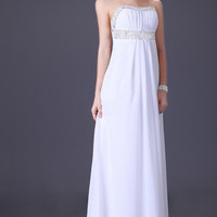 White Beaded Cutout Back Chiffon Maxi Dress