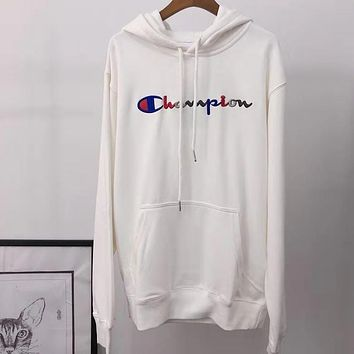 Champion autumn and winter embroidered color letters couple models hooded sweater white