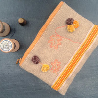Yellow and orange zipper pouch -  iphone - smartphone clutch,  - sunglasses case. Hand embroidered, linen, yellow, brown and orange.OOAK