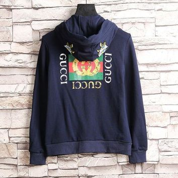 ESBON GUCCI Flower Embroidery Hooded Casual Long Sleeve Cardigan Jacket Coat