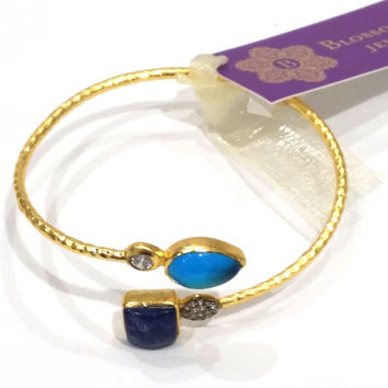 Blossom Box Chalcedony and Amethyst Bangle