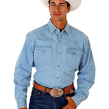 Roper Men's Basic Denim Button Western Shirt Light Blue Small