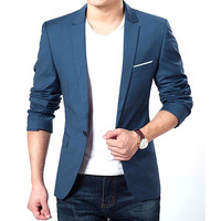 Fashion Men Slim Formal One Button Suit Blazer Coat Jacket Top S-XXXL