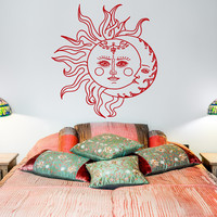 Sun And Moon Wall Decal Sticker- Crescent Moon Decor Ethnic Symbol Wall Decals Bedroom Dorm Bohemian Boho Bedding Wall Art Home Decor U012