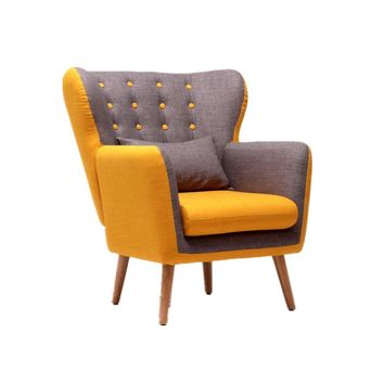 Mid-Century Modern Single Sofa Chair with Tufted Back&Wood Legs Couch For Living Room Furniture Seat Sofa Accent Chair Armchair