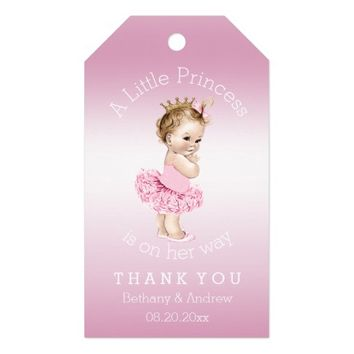 Princess Ballerina Baby Shower Personalized Pink Pack Of Gift Tags