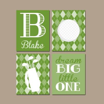 GOLF Wall Art, CANVAS or Prints Argyle Pattern Baby Boy Nursery Boy Bedroom Golf Theme Boy Name Print Monogram Initial Set of 4 Crib Decor