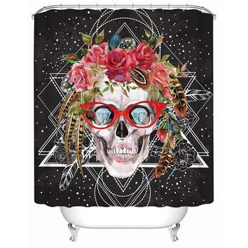 Sugar Skull with Glasses Shower Curtain Waterproof Flowers Fashionable Curtain for Bathroom Home Decor With Hooks