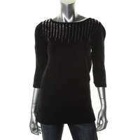 Style & Co. Womens Knit Studded Pullover Sweater