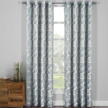 Gray 108x96 Catalina Jacquard Grommet Curtain Panels (Set of 2)