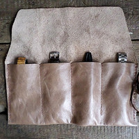 Coffee brown Leather Watch Roll, Travel  Watch Pouch, Tool Roll, Roll Pencil Case