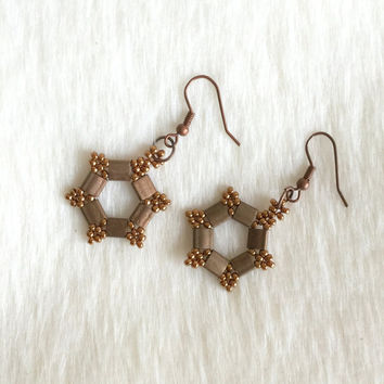 Tila Bead Earrings,Copper Earrings,Miyuki Bead Earrings,Beadwork Earrings,Beaded Earrings,Peyote Stitch Earrings,Brown Earrings,Gift for Her