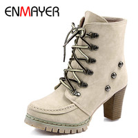 ENMAYER Lace-up New Motorcycle Boots Shoes Woman Large size 34-43 High Heels Winter Boots Rivets Charms Ankle Boots for Women
