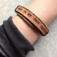Custom Music Lyric Leather Bracelet. Bob Marley song Personalized message or quote