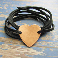 hammered copper heart wrap bracelet