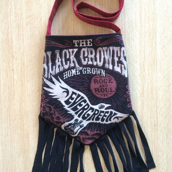 BLACK CROWS - Upcycled Rock T-Shirt Fringe Purse - ooaK