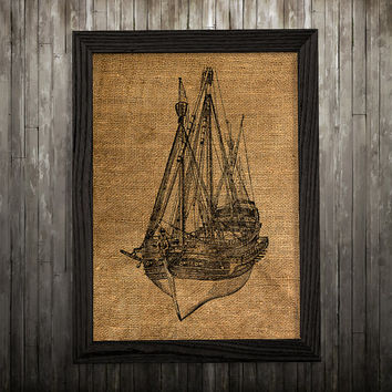 Ship decor Nautical print Burlap poster Maritime print BLP754