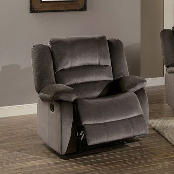 Polyester Upholstered Recliner Chair With Pull Back Mechanism, Chocolate Brown