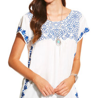 Ariat Women's White Embroidered Acle Top