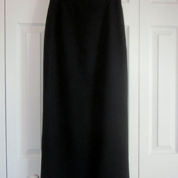 Black Maxi Skirt, Black Wool Skirt, Long Black Skirt, Womens Size 6 Waist 28, Midi Business Wear, Vintage Limited Pencil Skirt, Made in USA