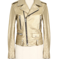 SAINT LAURENT GOLD-TONE LONG SLEEVES METALLIC LEATHER BIKER JACKET