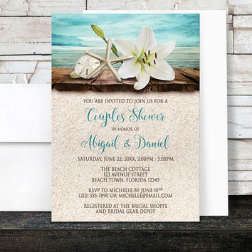 Beach Couples Shower Invitations - Lily Seashells Sand Beach - Rustic Floral Tropical - Wood Dock Water - Printed Invitations