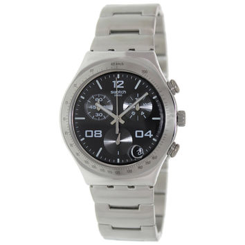 Swatch YCS564G Unisex Blustery Black Irony Chrono Stainless Steel Bracelet Watch