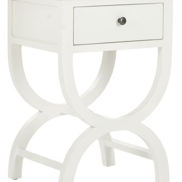 Maxine Accent Table With Storage Drawer Shady White