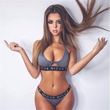 HEYounGIRL 2017 Brand  Push Up Hot Sexy Club Girls Letter Print Nicce Women Bra Brief Sets Solid Black Gray Underwear Panty Sets
