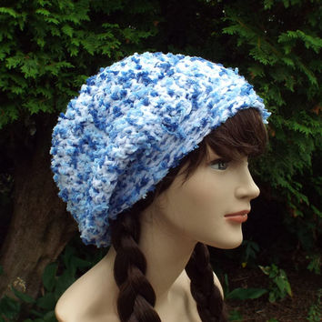 Blue and White Slouch Beanie - Womens Slouchy Crochet Hat - Oversized Slouchy Beanie - Chunky Hat - Baggy Beanie - Winter Slouchy Hat