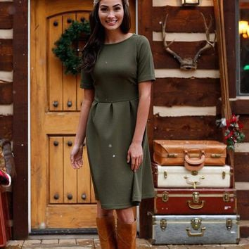 Holly Green Fit and Flare Dress