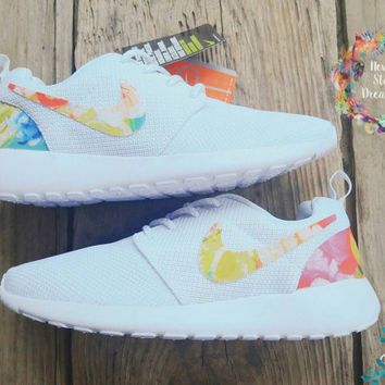 Limited quantity Custom Nike roshe run white with floral!