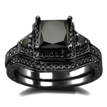 2.01ct Black Princess Cut Diamond Engagement Ring Wedding Set 14k Black Gold Rhodium Plating Over White Gold