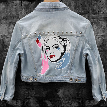 Harley Quinn Inspired Hand-Painted Cropped Blue Denim Jacket (Size US 8, EUR 40, UK 12)