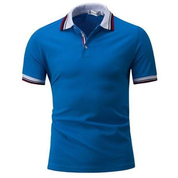 ESBON M-4XL Black White Blue Striped Mens Polo Shirt Men Short Sleeve Patchwork Fitness Brand Clothing 2017 Button Up Summer Pullovers
