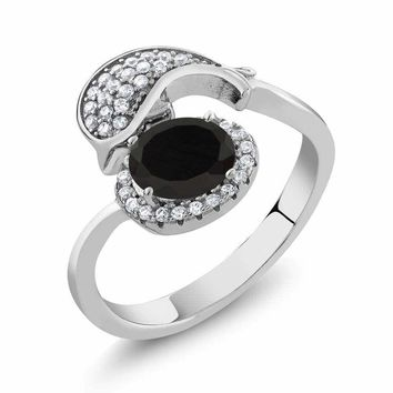 1.94 Ct Oval Black Onyx 925 Sterling Silver Dolphin Ring