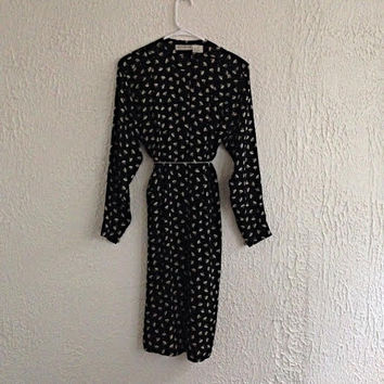 Vintage 80s Liz Claiborne Silk Dress – 1980s Black and White Retro Design Shirt Dress