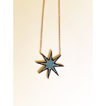 Solid 925 Sterling Silver Eight Corner Star Necklace