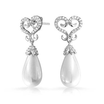 Bridal Heart Drop Dangle Statement Earrings Prom Silver Plated