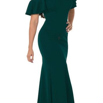 Cold-Shoulder V-Neck Mermaid Long Prom Dress Green