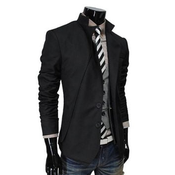 Black Two Buttons Long Sleeve Blazer