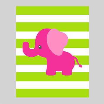 Hot Pink Elephant Lime Stripe Nursery Decor Baby Print Bathroom Art CUSTOMIZE YOUR COLORS 8x10 Prints Nursery Decor Art Baby Room Decor Kids
