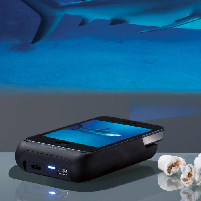 Pocket projector for iphone 4 and 4s from brookstone epic for Pocket projector case