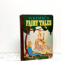 Fairy Tales Grimms, 1930s, Fairy Tale Book, Fairytale Book, Home Staging, Princess, Antique Fairy Tale Book ,Old Book, Photo Prop, Ephemera