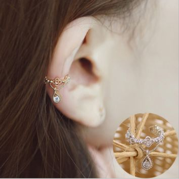 Zircon Fountain Water Drop Earbone Clip No Ear Holes Earrings Fake Stud Earrings