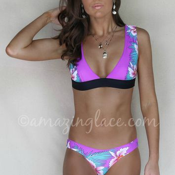 Secret Beach Tropical Print Reversible Halter Top