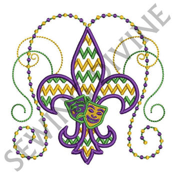 Machine Embroidery Design Fleur de lis MARDI GRAS CHEVRON 4x4 5x7 6x10 Instant Download