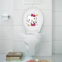 hello Kitty Toilet Bathroom Waterproof Decorative Home Decoration Accessories Bathroom Wall Stickers for Toilet