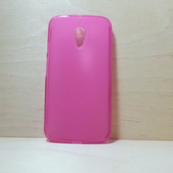 Motorola Moto G (2nd Generation) Soft TPU translucent Color Case Protective Silicone Back Case Cover - Rose Pink