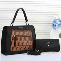 Fendi Women Fashion Leather Chain Satchel Shoulder Bag Handbag Crossbody Two Piece Set